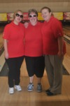 Bats Angels: Nickie, Tracey and Charlotte - In red shirts and black trousers ready to play