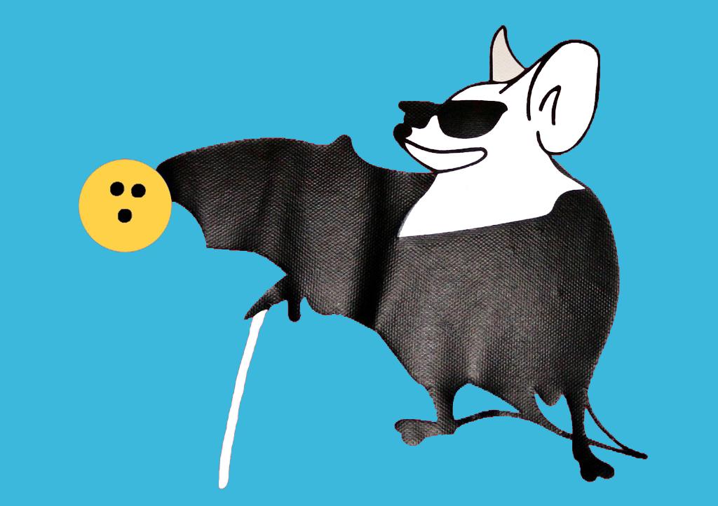 Swindon Bats Logo - A Bat wearing dark glasses, holding a white stick and throwing a yellow bowling ball